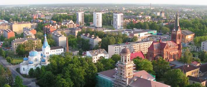 An aerial photograph of Jelgava in Latvia.