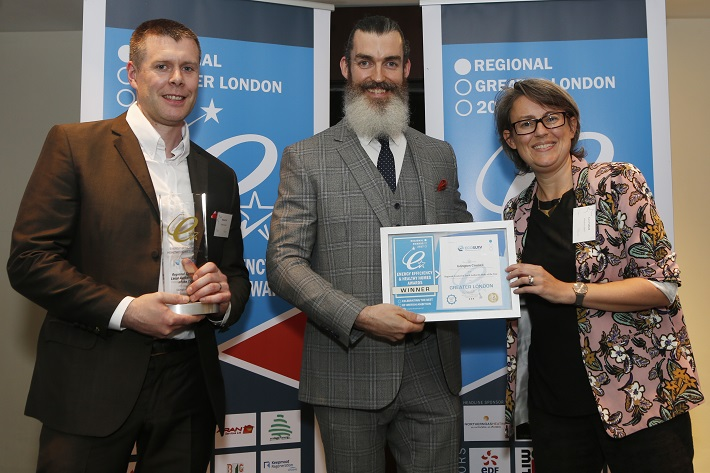 3 members of Islington Borough holding  Local Authority of the Year award at the UK National Energy Efficiency Awards 2017